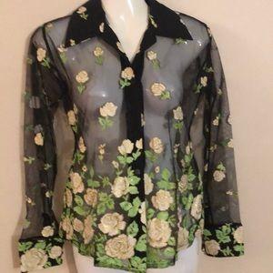 Tops - Vintage sheer black blouse with flower design